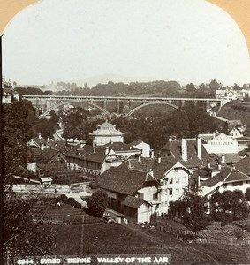 Switzerland Bern Panorama Valley of the Aare Old Stereoview Photo CH Graves 1890
