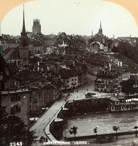Switzerland Bern Panorama General View Old Stereoview Photo CH Graves 1890