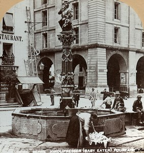 Switzerland Bern Fountain Kindlifresserbrunnen Old Stereoview Photo Graves 1890