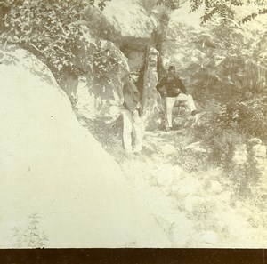 Italy South Tyrol Border Guards Grenzwacht Ponale Old Stereoview Photo 1880
