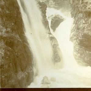 Italy South Tyrol Ponale Waterfall Lake Garda Old Stereoview Photo 1880
