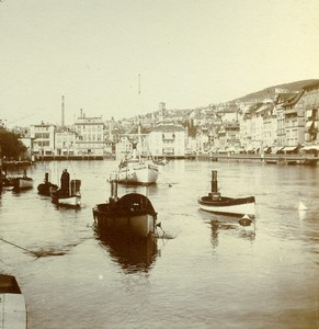Switzerland  Zurich Panorama River Limmat Old Stereoview Photo 1880