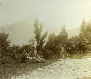 Switzerland Alps Summit of Abendberg Hotel Bellevue Old Amateur Stereoview 1900