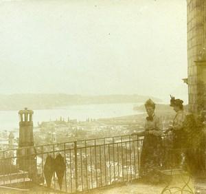 Switzerland Alps Lucerne from Hotel Château Gütsch Old Amateur Stereoview 1900