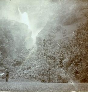 Switzerland Meiringen Waterfall Reichenbach Falls Amateur Stereoview Photo 1900