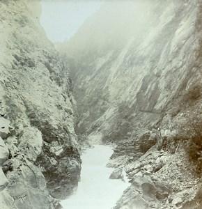 Switzerland Ragaz Tamina Gorges Taminaschlucht Old Amateur Stereoview Photo 1900
