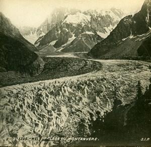 France Alps Mont Blanc Glacier Mer de Glace Montenvers Stereoview SIP Photo 1900