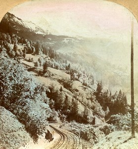 Switzerland Alps Wengen Lauterbrunnen Railway Old Stereoview Keystone Photo 1900