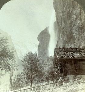 Switzerland Alps Staubach & Breithorn Waterfall Old Rau Stereoview Photo 1900