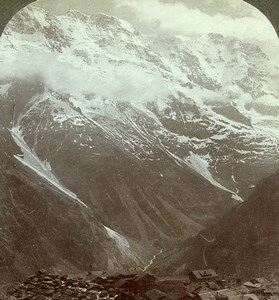 Switzerland Alps Almen Glaciers Panorama Old Rau Stereoview Photo 1900