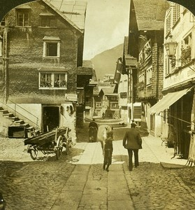 Switzerland Alps Andermatt Cobbled Street Old H.C. White Stereoview Photo 1900