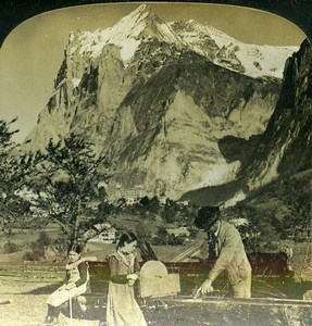 Switzerland Bernese Alps Grindelwald Wetterhorn Old White Stereoview Photo 1900