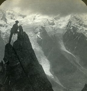 France Alps Mont Blanc from the Brevent Old Young Stereoview Photo 1900