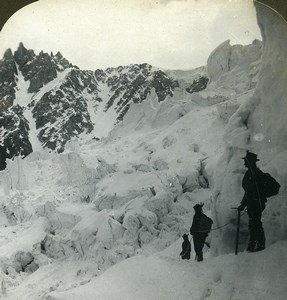 France Alps Glacier of Taconnay & Bossons Old Young Stereoview Photo 1900