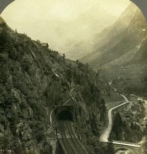 Suisse Alpes Vallée du Saint Gothard Chemin de Fer ancienne Photo Stereo Rau 1900
