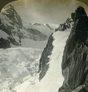 France Alps Grands Mulets Mont Blanc Mountain Old Young Stereoview Photo 1900