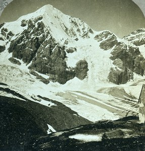 Switzerland Ortler Alps Gran Zebrù Konigspitze Old Graves Stereoview Photo 1900