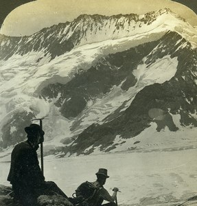 Switzerland Alps Aletsch Glacier Dreieckhorn Mountain Old Stereoview Photo 1900