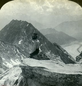 Switzerland Bernese Alps Eggishorn Panorama Old ASC Stereoview Photo 1900