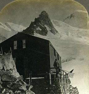 France Alps Mont Blanc Grands Mulets Refuge Old Rau Stereoview Photo 1900