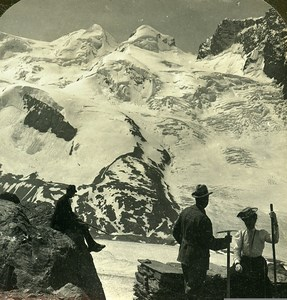 Switzerland Alps Gornergrat Castor & Pollux Glacier Old Stereoview Photo 1900