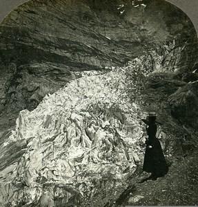 Switzerland Bernese Alps Grindelwald Glacier Old Rau Stereoview Photo 1900