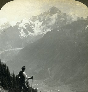 France Alps Chamonix Aiguille Verte & Dru Old Stereoview Photo 1900