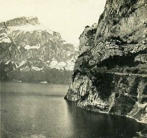 Switzerland Schwyz Alps Axenstrasse near Fluelen Old Stereoview Photo 1900