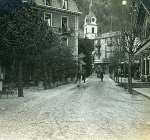 Switzerland Vitznau Hotel Rigibahn Church Old Stereoview Photo 1900