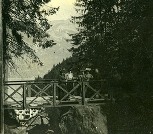 Switzerland Giessbach Bridge towards the Lake Old Amateur Stereoview Photo 1900