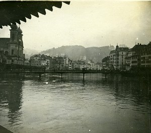 Switzerland Lucerne Aar View from Kapellbrücke Old Amateur Stereoview Photo 1900