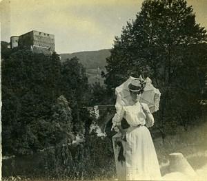 Switzerland Schloss Angenstein Castle Elegant Lady Amateur Stereoview Photo 1900