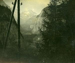 Switzerland Wengernalp railway Lauterbrunnen Old Amateur Stereoview Photo 1900
