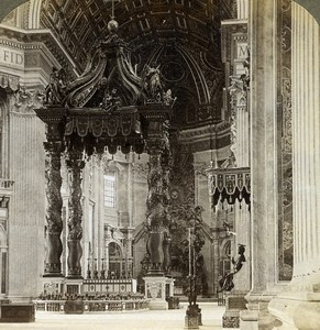 Italy Rome Vatican St Peter's Basilica Altar Old Underwood Stereoview Photo 1900
