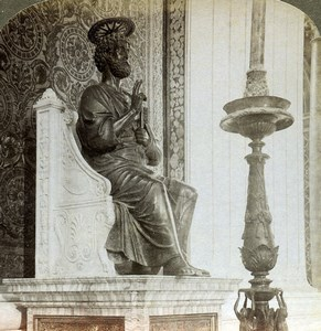 Roma Rome Vatican St Peter's Basilica Statue Old Underwood Stereoview Photo 1900