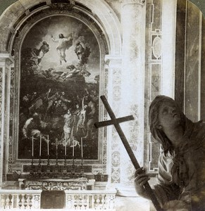 Vatican St Peter Basilica Transfiguration Mosaic Underwood Stereoview Photo 1900