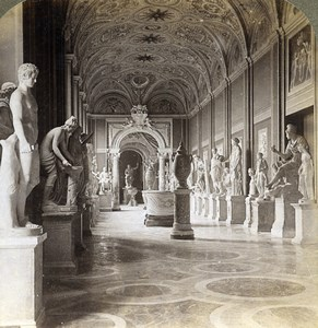 Italy Roma Rome Vatican Gallery of Statues Old Underwood Stereoview Photo 1900