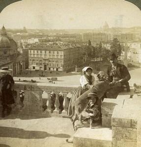 Italy Roma Panorama from Monte Pincio Old Underwood Stereoview Photo 1900