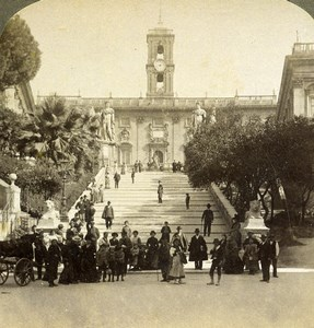 Italy Roma Capitol Tower Palace Tabularium Old Underwood Stereoview Photo 1900