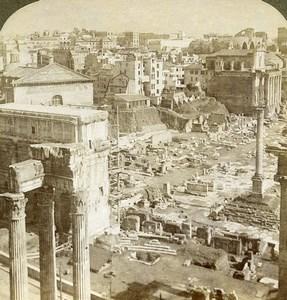 Rome Roman Forum Arch Septimius Vespasian Temple Underwood Stereoview Photo 1900