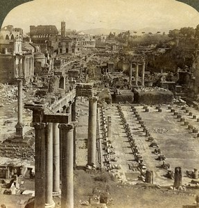 Italy Rome Roman Forum View from Capitol Underwood Stereoview Photo 1900