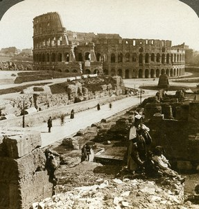 Italy Rome Roma Colosseum Coliseum Old Underwood Stereoview Photo 1900