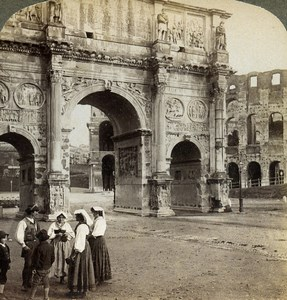 Italy Rome Roma Arch of Constantine Old Underwood Stereoview Photo 1900