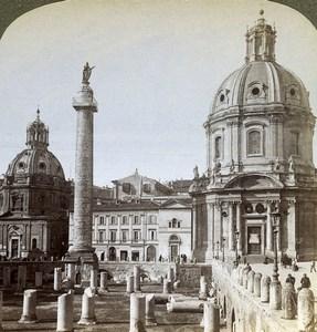 Italy Rome Roma Trajan's Forum Old Underwood Stereoview Photo 1900