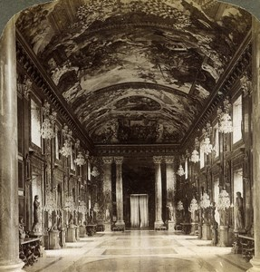 Italy Rome Roma Gallery in Colonna Palace Old Underwood Stereoview Photo 1900