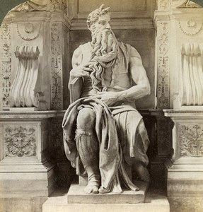 Italie Rome Roma Statue de Moise de Michel Ange ancienne Photo Stereo Underwood 1900