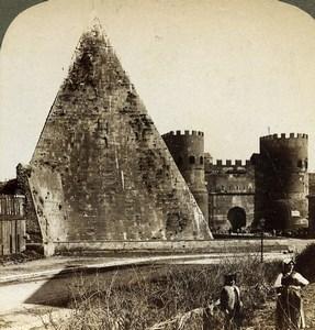 Rome Roma gate of St Paul & Pyramid of Cestius Underwood Stereoview Photo 1900