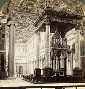 Rome Roma Basilica St Paul outside the walls Altar Stereoview Underwood 1900