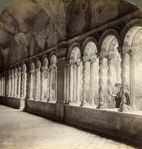 Italy Rome Roma Cloister of St Paul Basilica Old Underwood Stereoview Photo 1900