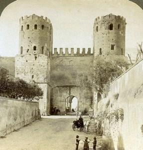 Rome Roma Gate of St Sebastien Porta Appia Old Underwood Stereoview Photo 1900